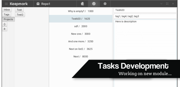 Tasks module development