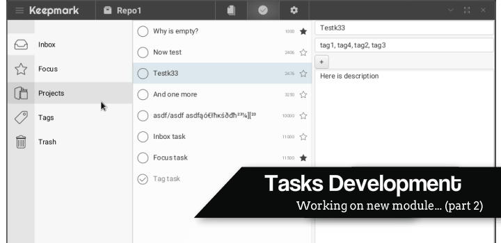 Tasks module development again